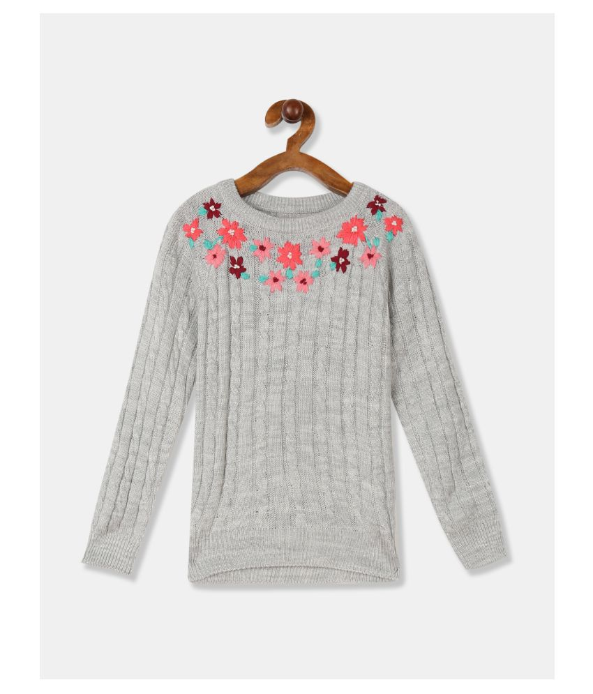 Cherokee Girls Grey Embroidered Neck Patterned Knit Sweater