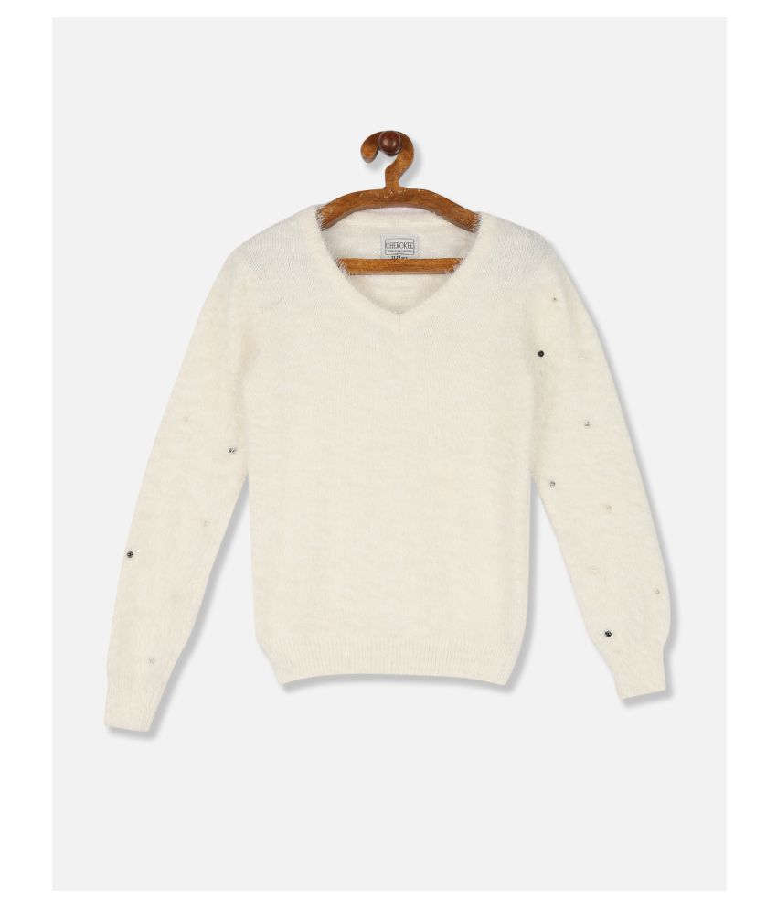 Cherokee Girls White Ribbed Crew Neck Patterned Knit Sweater
