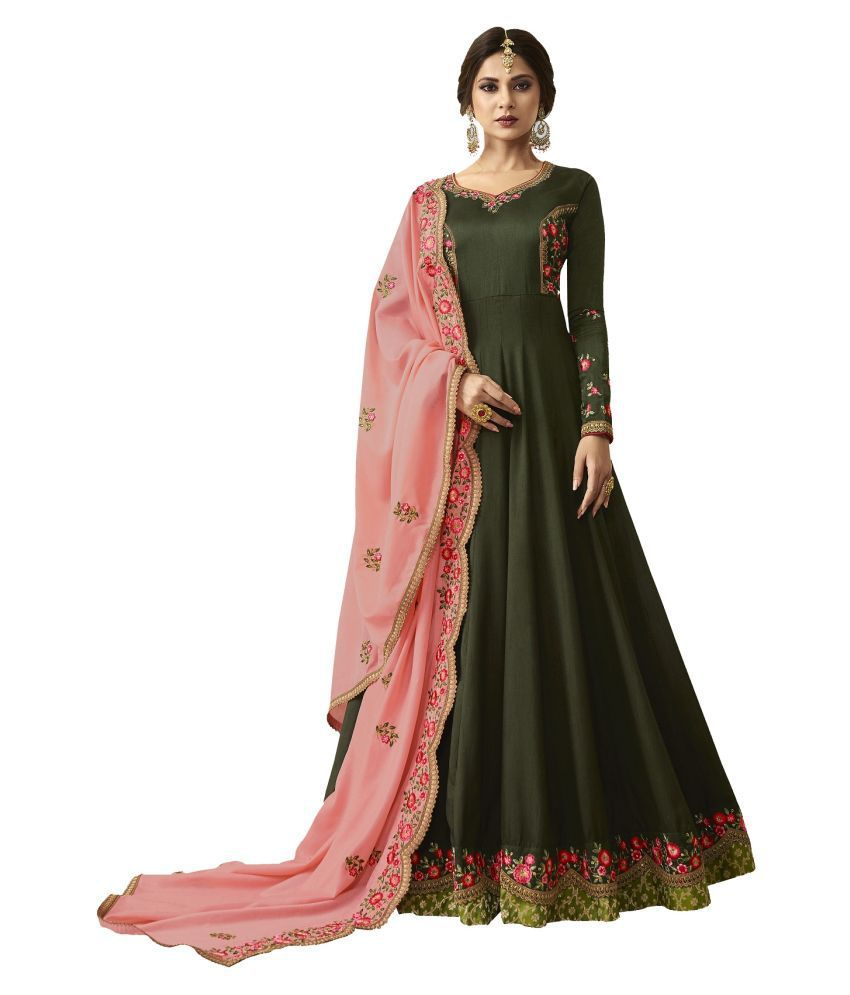 LOOKFIELD Green Silk Anarkali Semi-Stitched Suit - Single