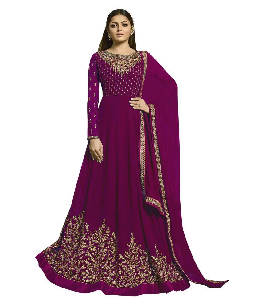 LOOKFIELD Purple Georgette Anarkali Semi-Stitched Suit - Single