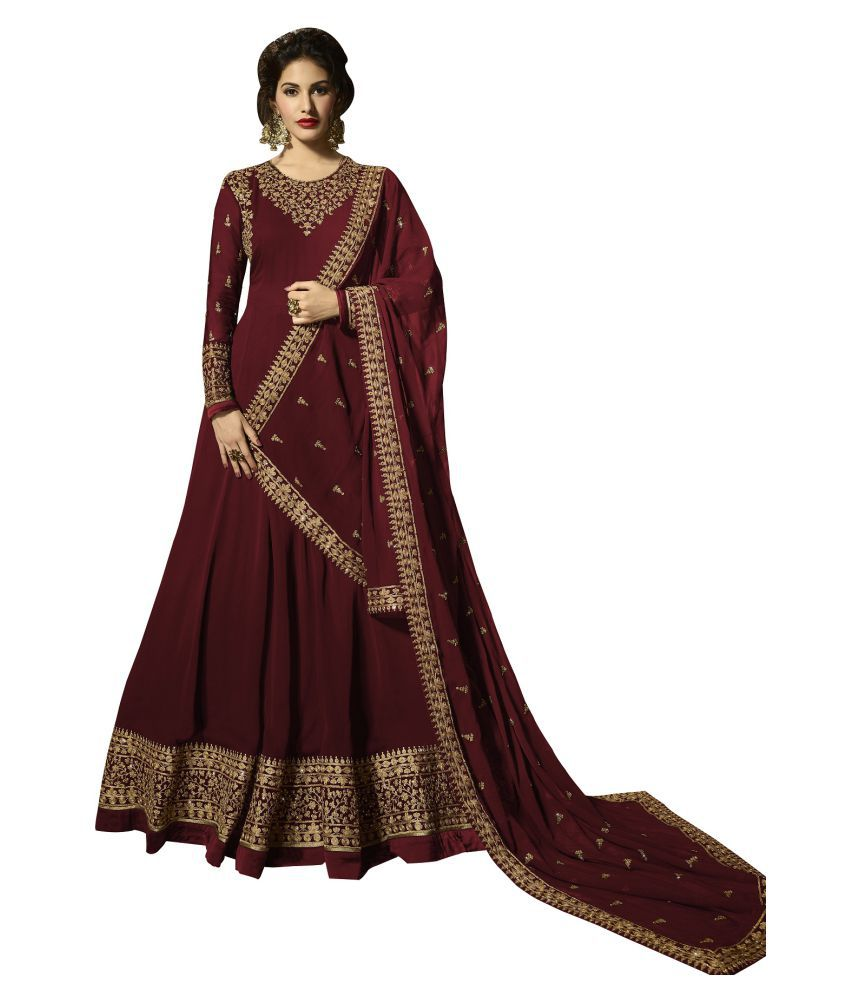 LOOKFIELD Red Georgette Anarkali Semi-Stitched Suit - Single