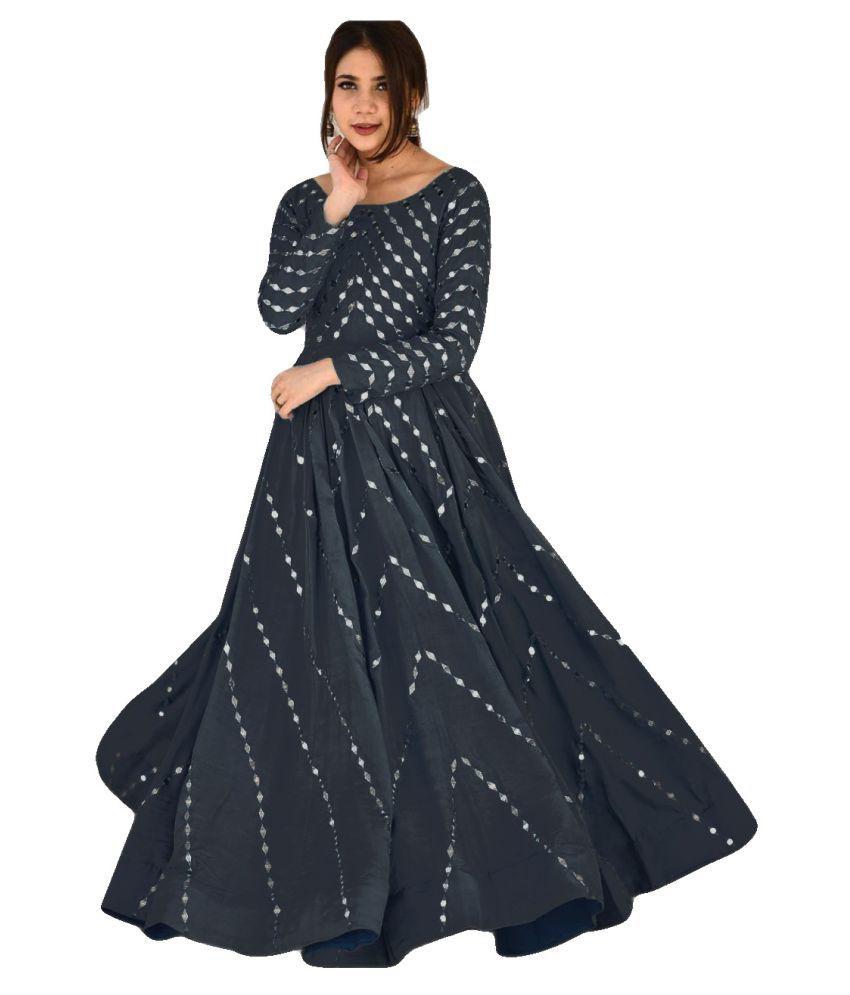 LOOKFIELD Grey Silk Anarkali Semi-Stitched Suit - Single