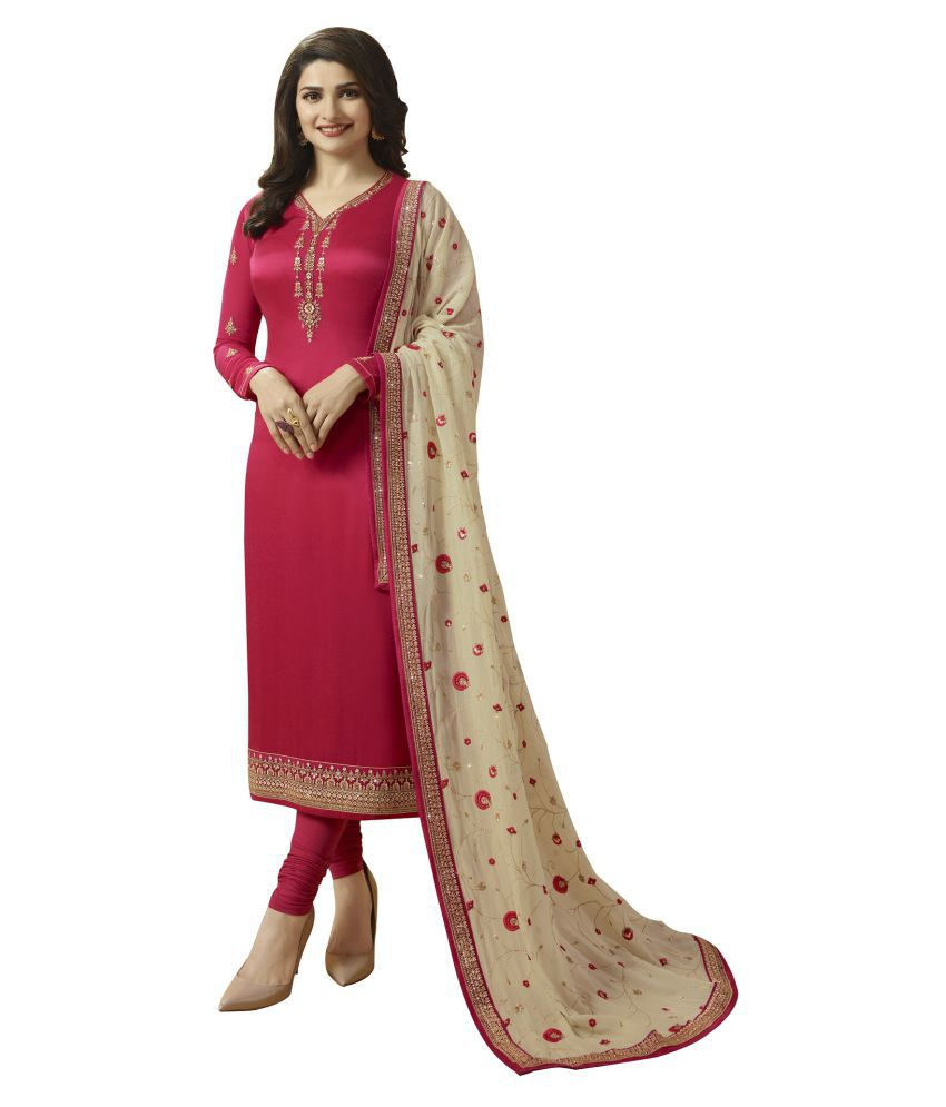 LOOKFIELD Pink Georgette Straight Semi-Stitched Suit - Single
