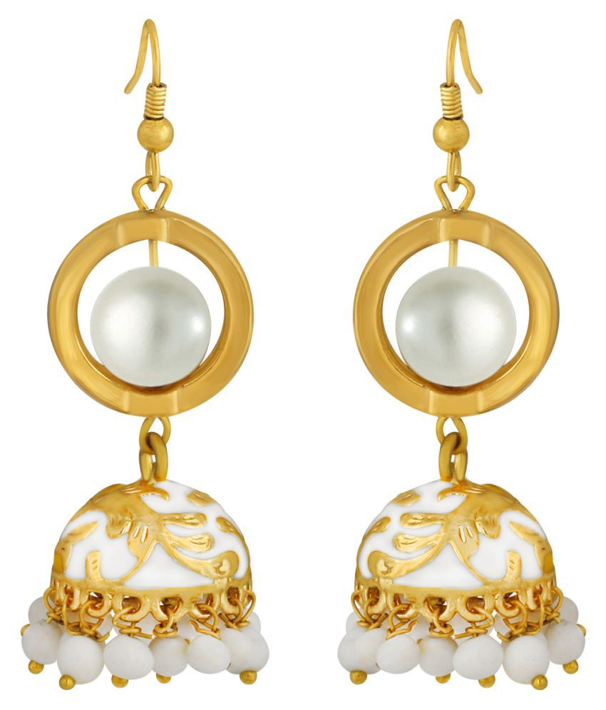 Spargz Indian Party Wear Gold Plated White Meenakari Jhumka Hook Earring AIER 1067