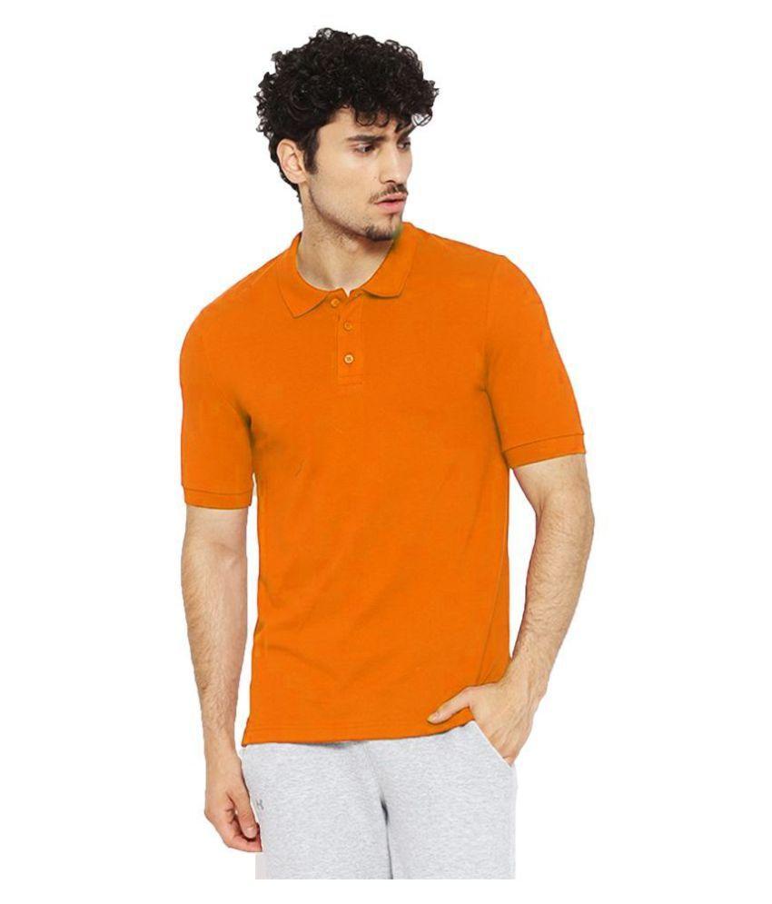 Leotude Cotton Blend Orange Plain Polo T Shirt