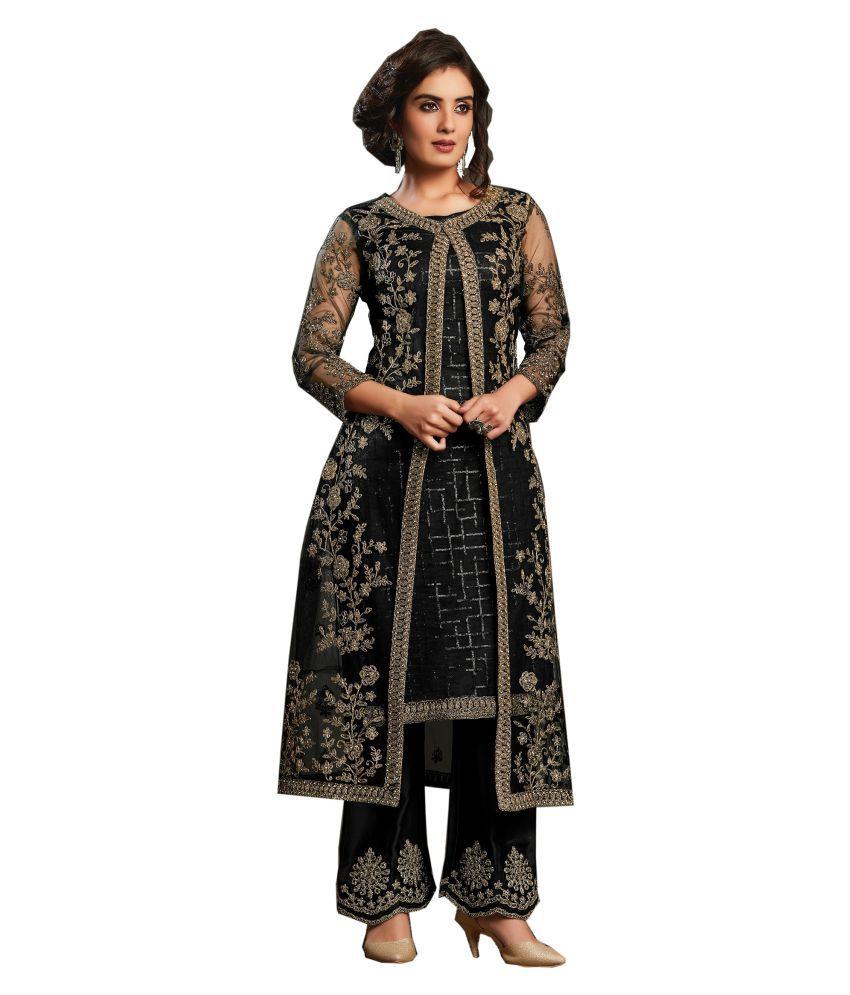 LOOKFIELD Black Net Anarkali Semi-Stitched Suit - Single