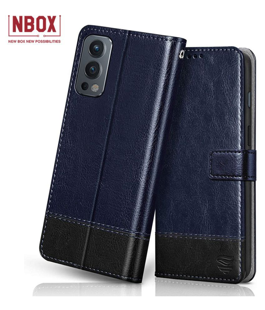 Oneplus Nord 2 Flip Cover by NBOX   Assorted Blue With Black