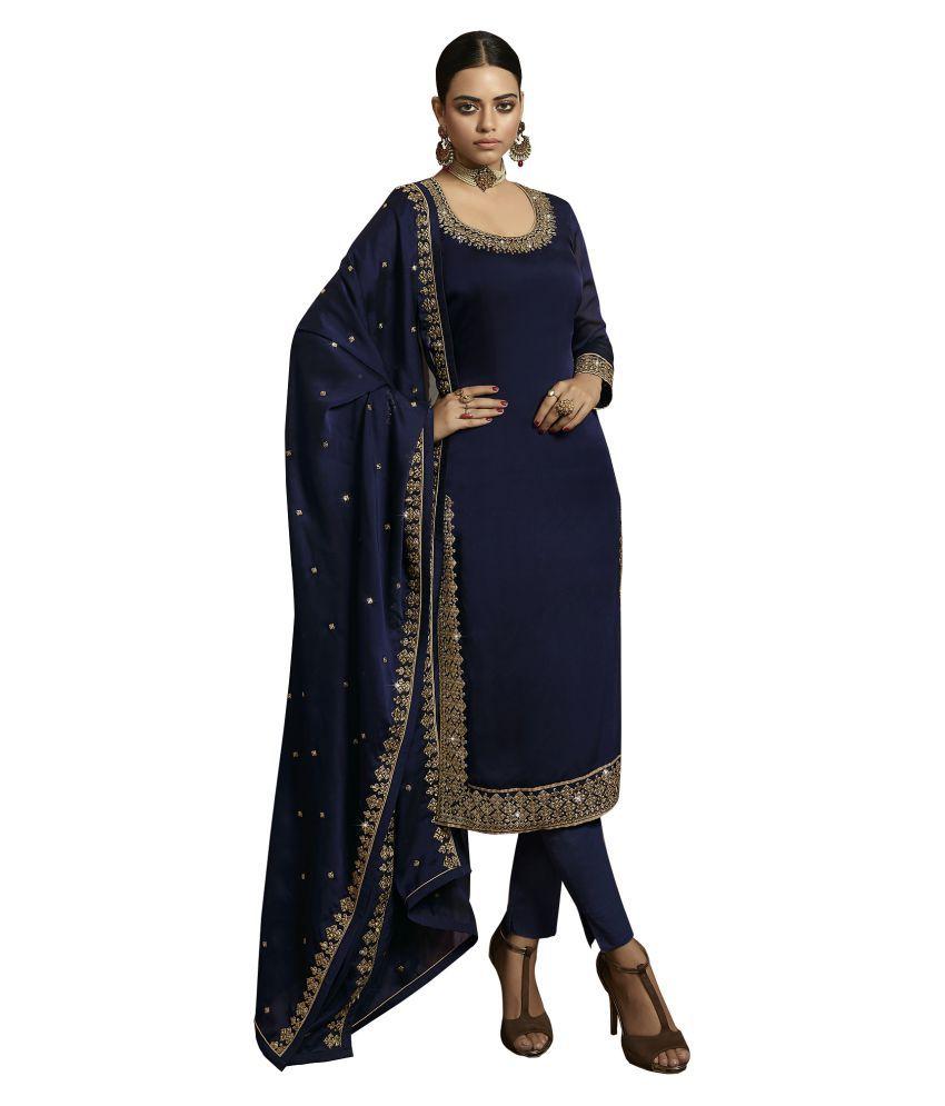 LOOKFIELD Blue Silk Straight Semi-Stitched Suit - Single