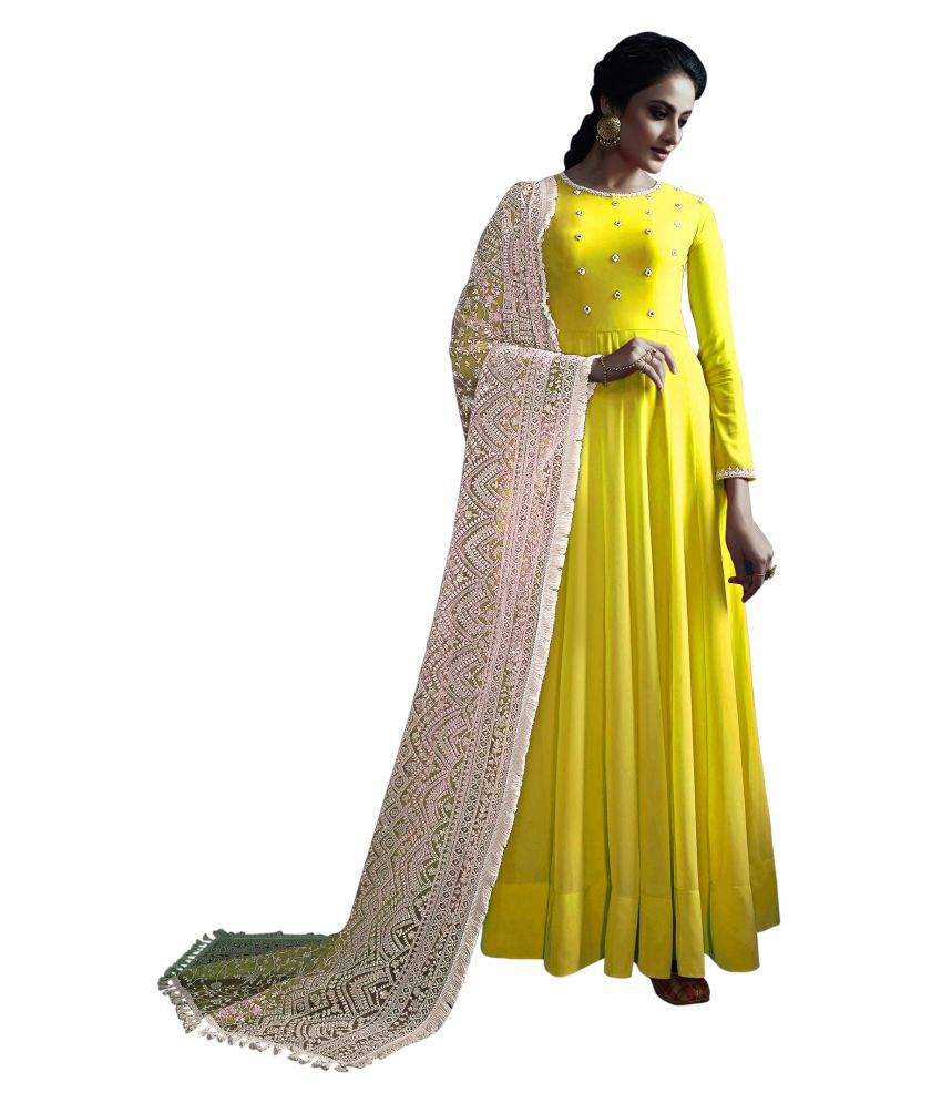 LOOKFIELD Yellow Georgette Anarkali Semi-Stitched Suit - Single