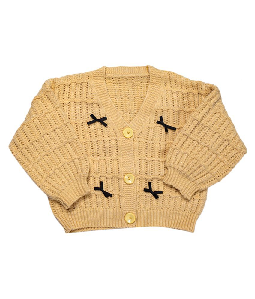 Hopscotch Girls Acrylic Fibres Long Sleeves Solid Cardigans in Yellow Color For Ages 6-7 Years (HZT-3735413)