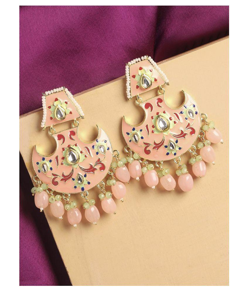 Fabula Jewellery Pink & Green Meenakari Enamel with Kundan and Pearls Ethnic Chandbali Earrings for Women & Girls