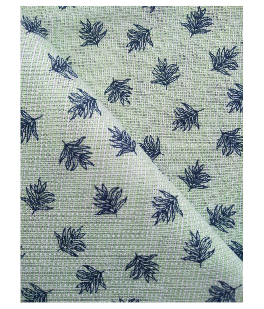 Makhanchor Green 100 Percent Cotton Unstitched Shirt pc Single