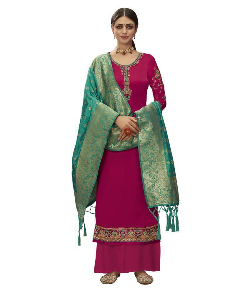 VUBA Pink Satin Straight Semi-Stitched Suit - Single